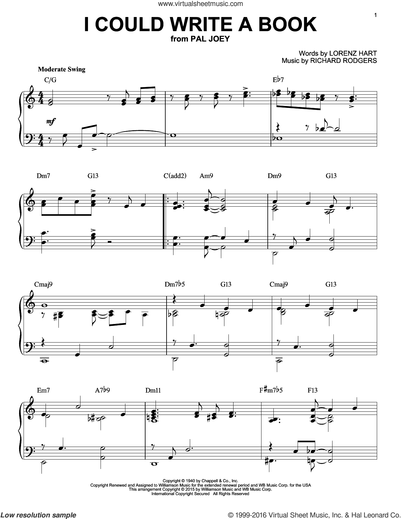 I Could Write A Book sheet music for piano solo by Lorenz Hart, Jerry Butler and Richard Rodgers. Score Image Preview.