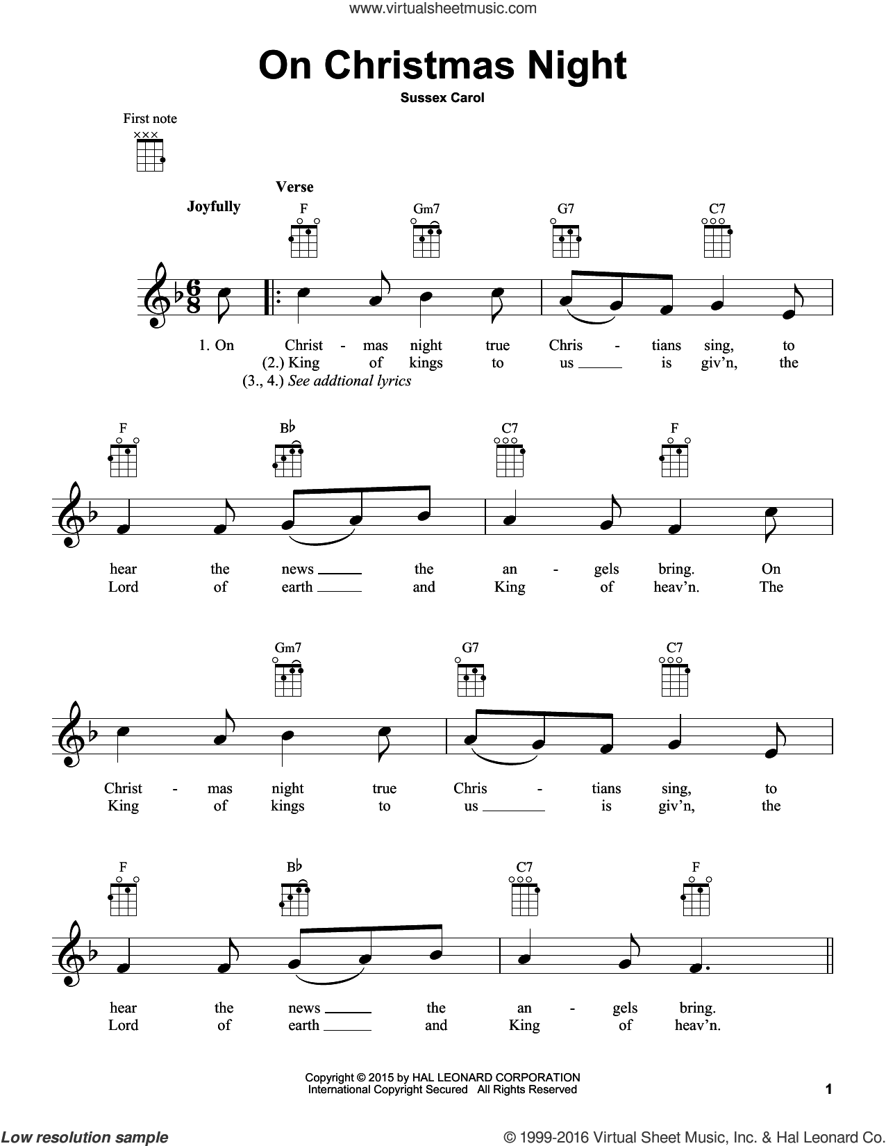 On Christmas Night sheet music for ukulele. Score Image Preview.