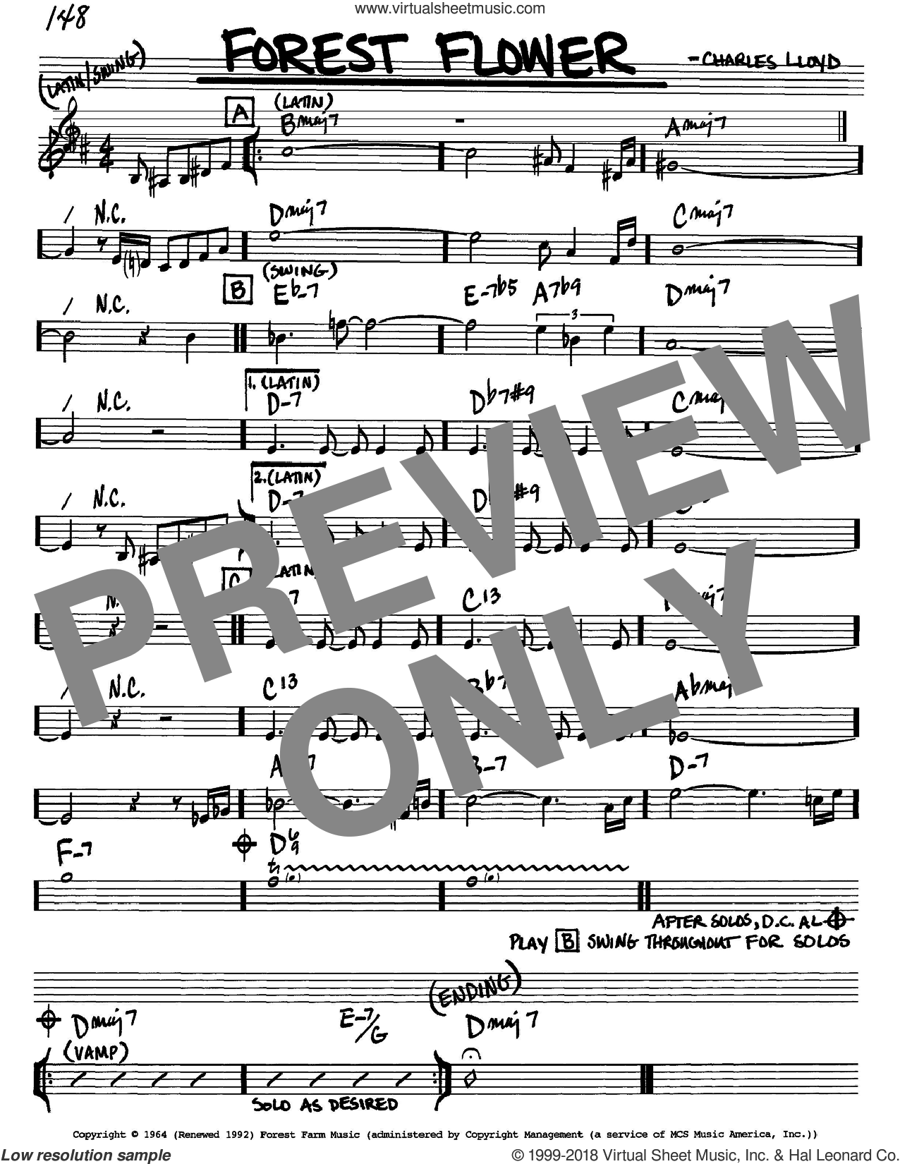 Forest Flower sheet music for voice and other instruments (Bb) by Charles Lloyd. Score Image Preview.
