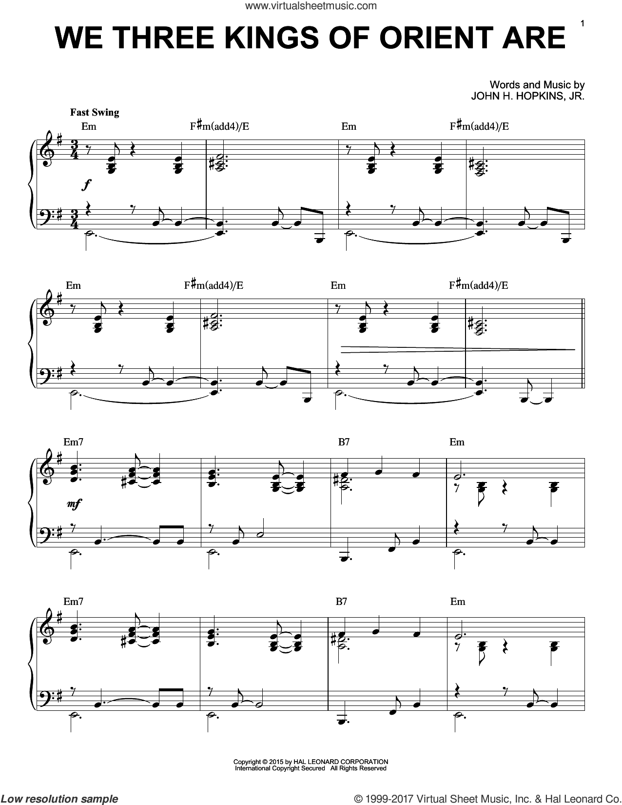 We Three Kings Of Orient Are [Jazz version] (arr. Brent Edstrom) sheet music for piano solo by John H. Hopkins, Jr., intermediate skill level