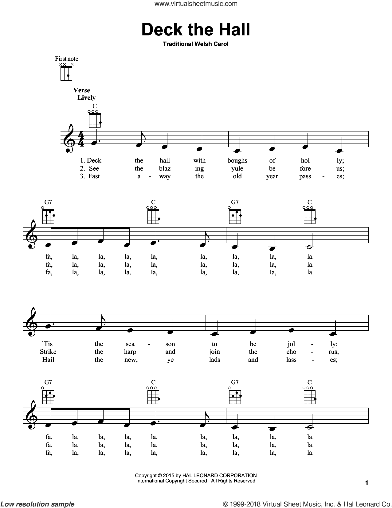 Deck The Hall sheet music for ukulele, intermediate skill level
