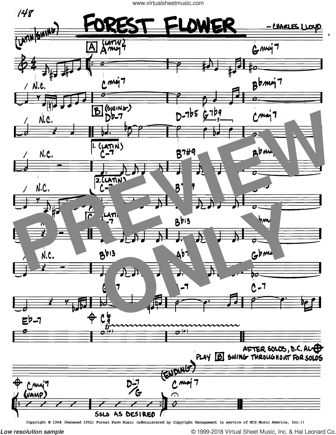 Forest Flower sheet music for voice and other instruments (C) by Charles Lloyd. Score Image Preview.