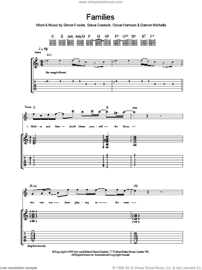 Families sheet music for guitar (tablature) by Steve Cradock