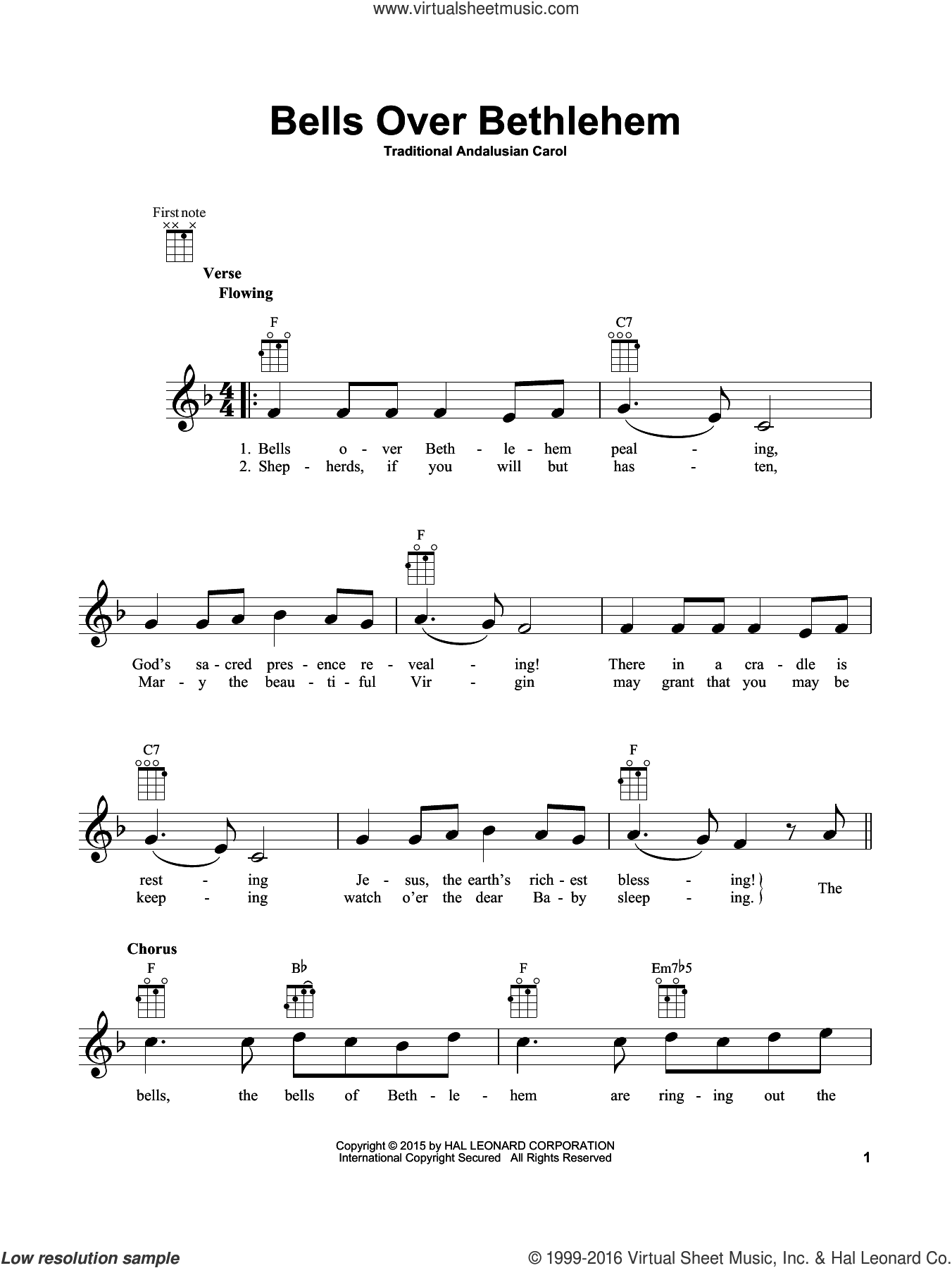 Bells Over Bethlehem sheet music for ukulele by Traditional Andalusian Carol. Score Image Preview.