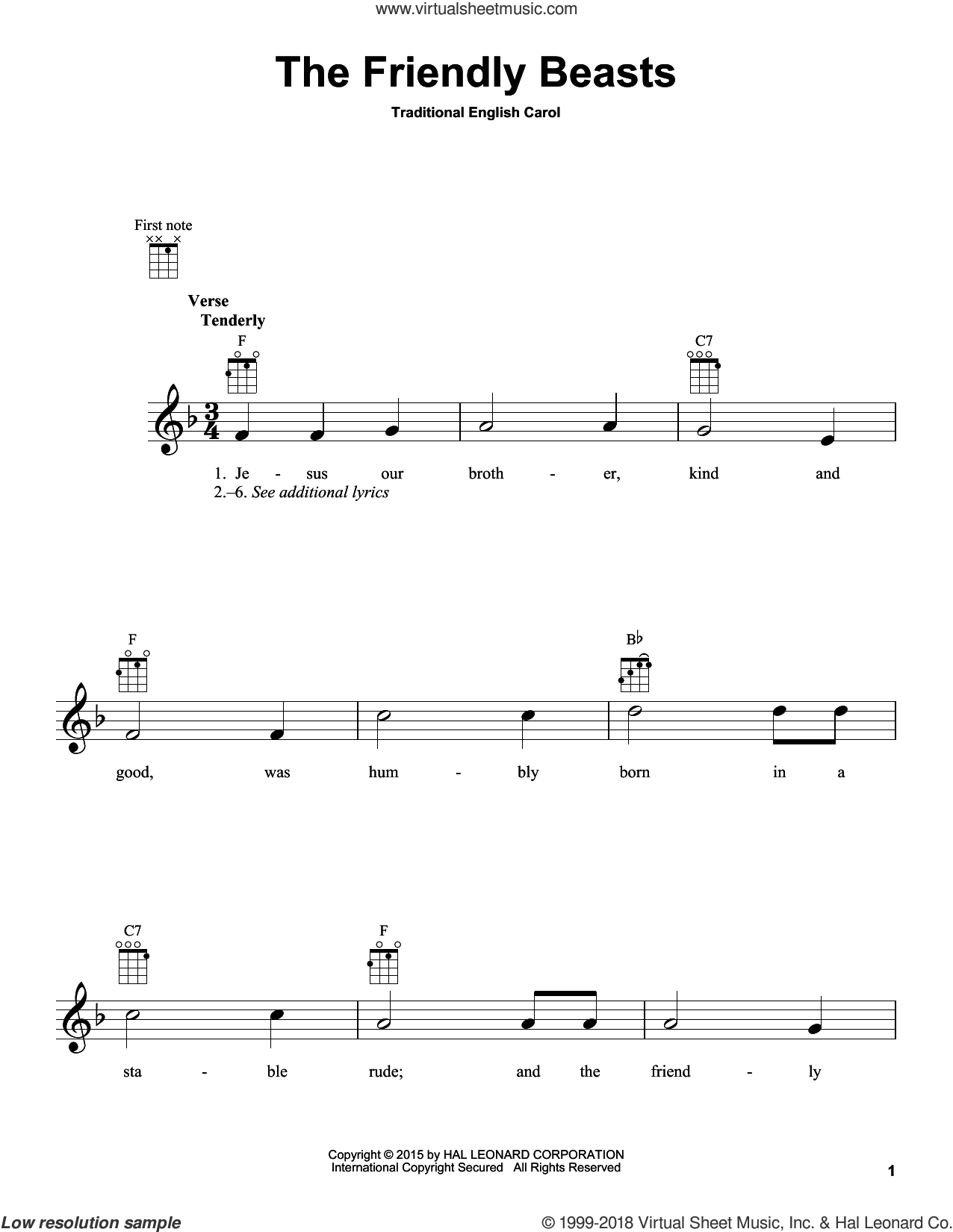 The Friendly Beasts sheet music for ukulele, intermediate skill level
