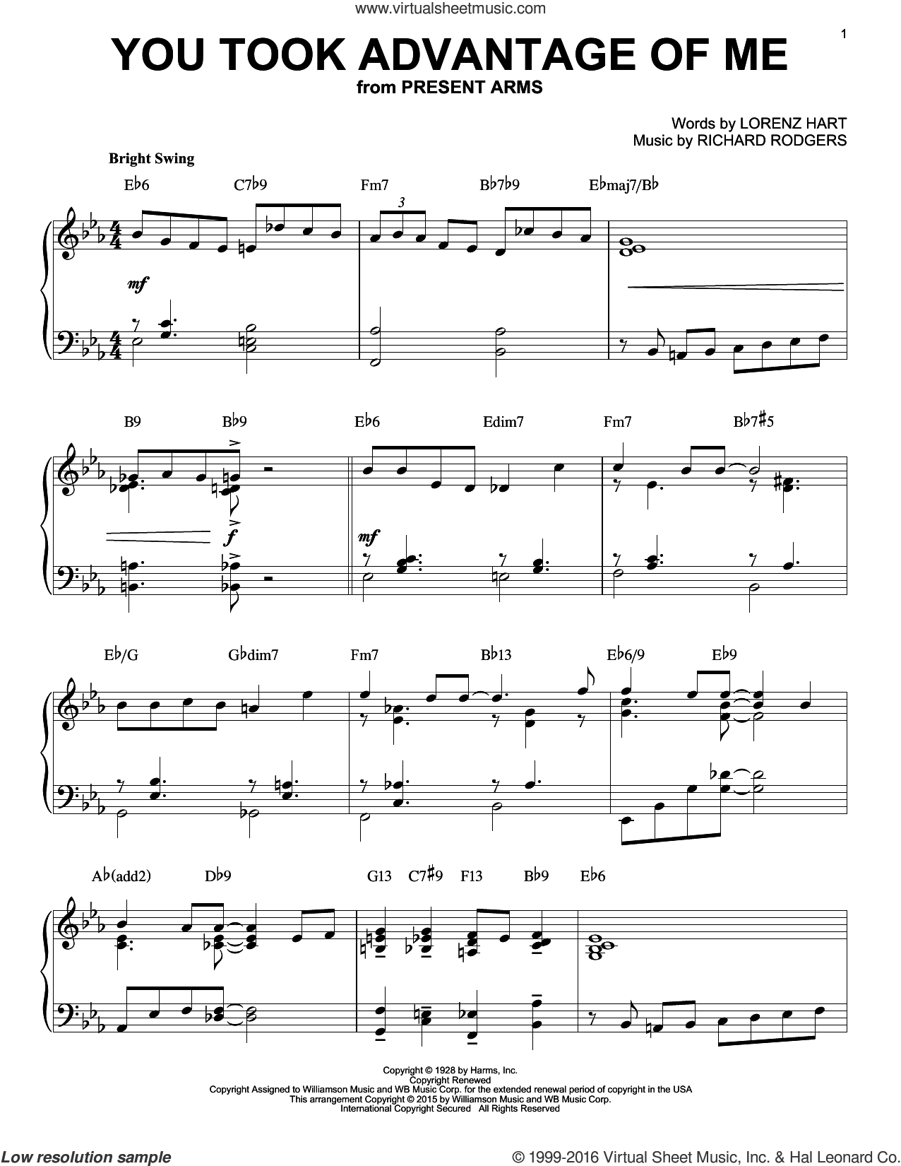 You Took Advantage Of Me sheet music for piano solo by Rodgers & Hart, Lorenz Hart and Richard Rodgers, intermediate skill level