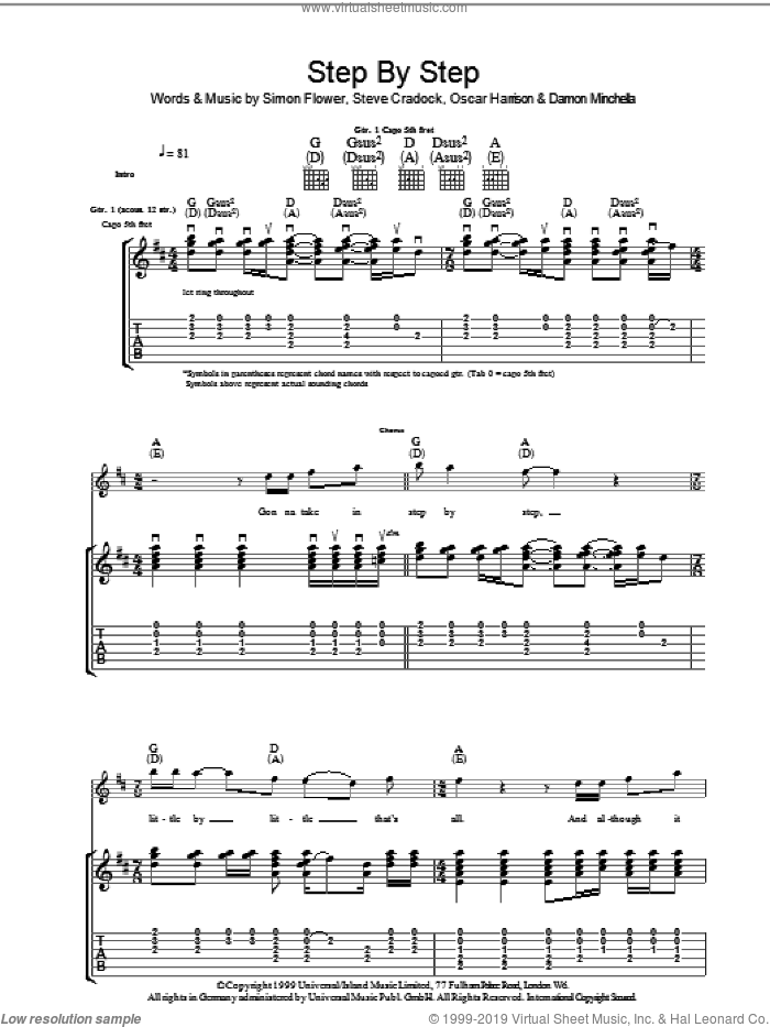 Step By Step sheet music for guitar (tablature) by Steve Cradock, Ocean Colour Scene and Oscar Harrison. Score Image Preview.