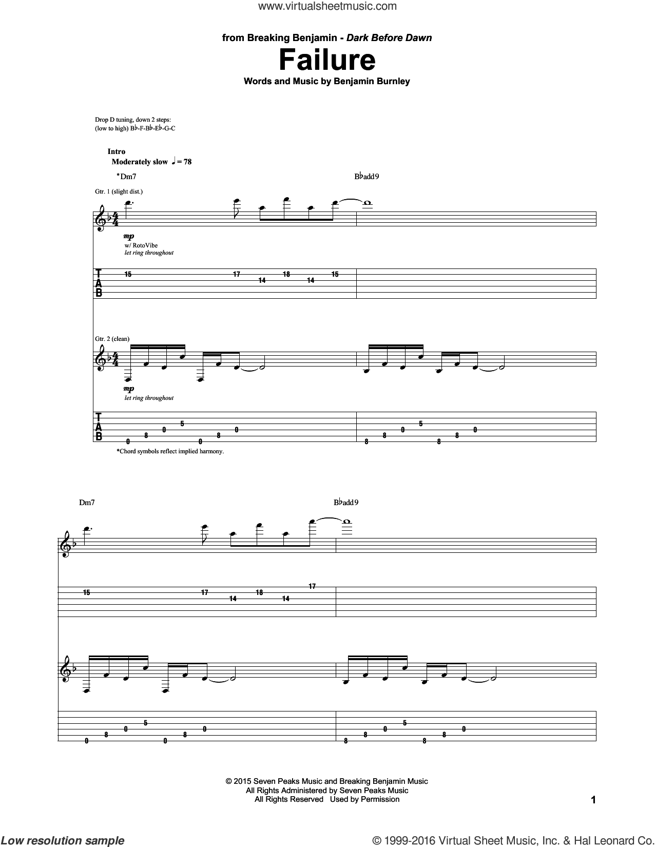 Failure sheet music for guitar (tablature) by Benjamin Burnley. Score Image Preview.