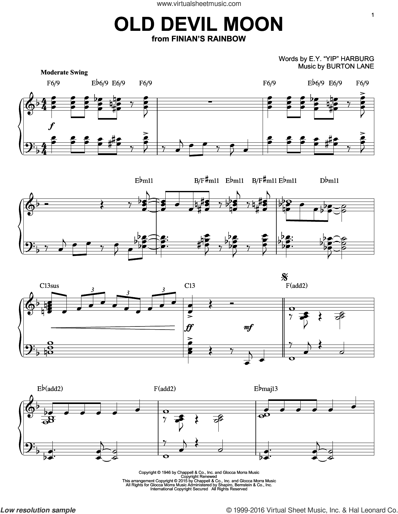 Old Devil Moon [Jazz version] (arr. Brent Edstrom) sheet music for piano solo by Burton Lane and E.Y. Harburg, intermediate skill level