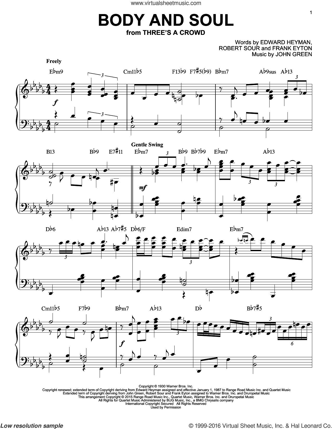 Body And Soul sheet music for piano solo by Tony Bennett & Amy Winehouse, Edward Heyman, Frank Eyton, Johnny Green and Robert Sour, intermediate piano. Score Image Preview.