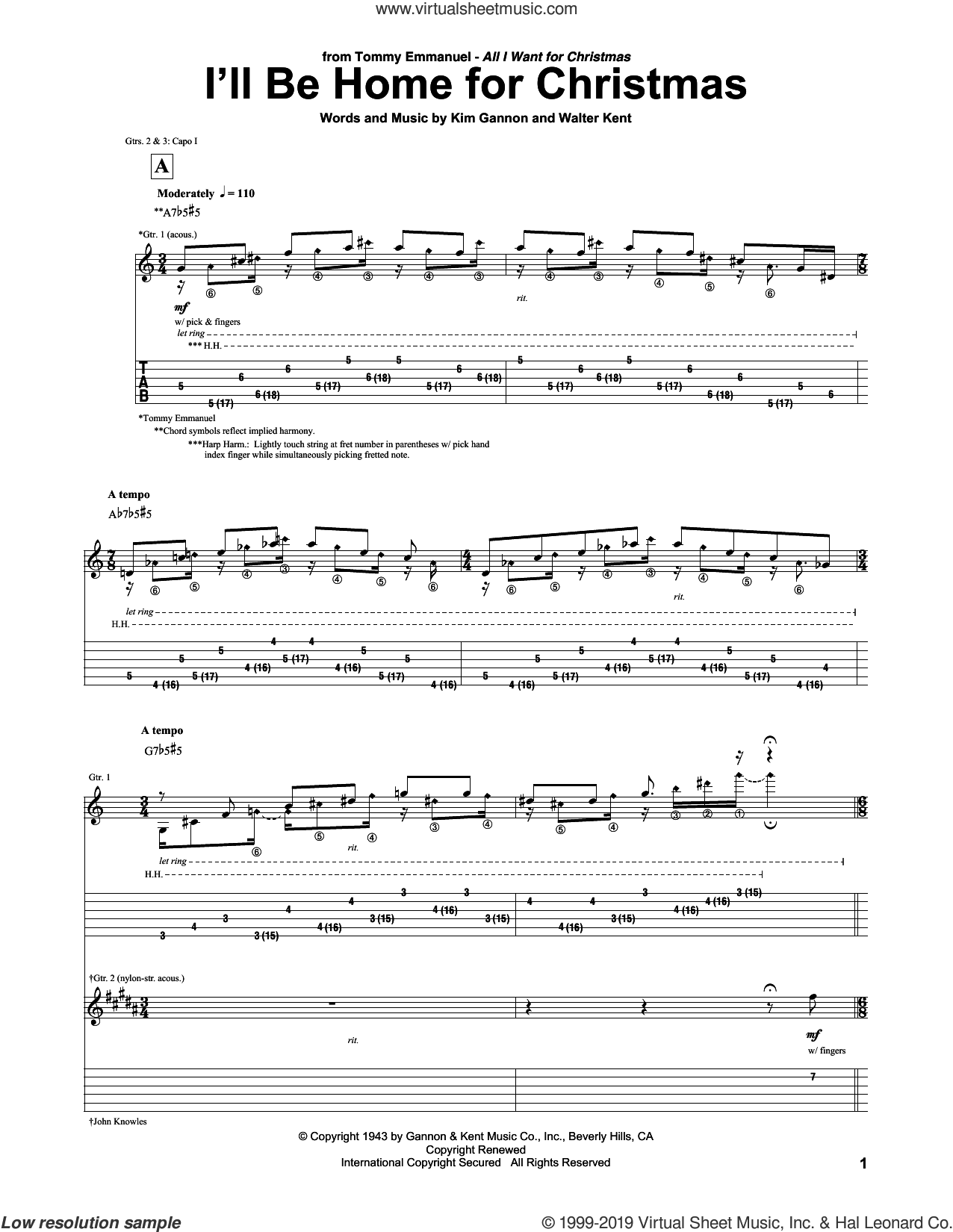 Ill Be Home For Christmas Sheet Music.Emmanuel I Ll Be Home For Christmas Sheet Music For Guitar Tablature