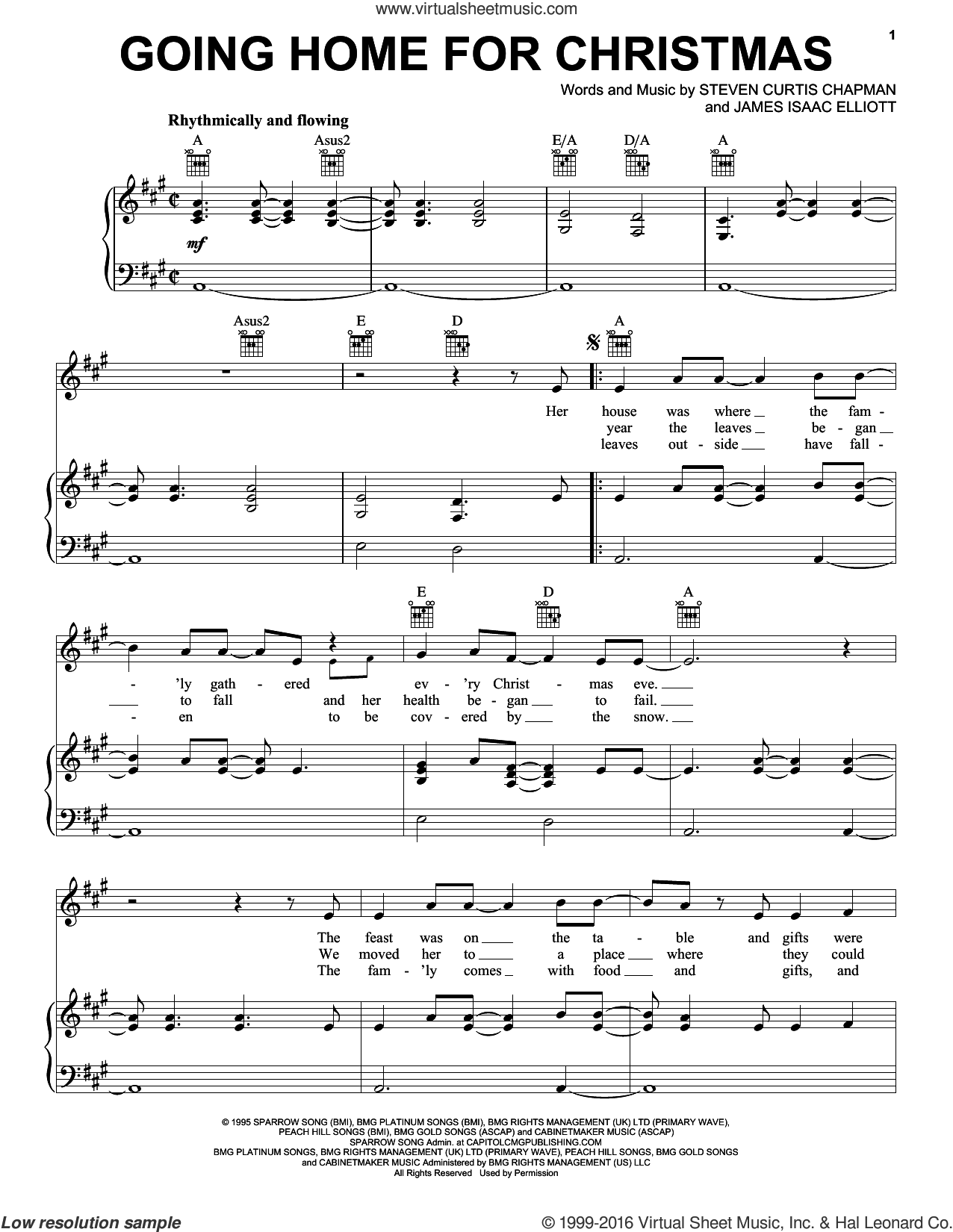 Going Home For Christmas sheet music for voice, piano or guitar by Steven Curtis Chapman and James Isaac Elliott, intermediate skill level