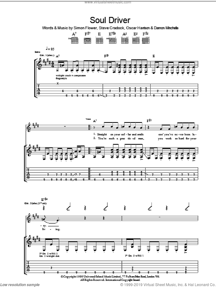 Soul Driver sheet music for guitar (tablature) by Steve Cradock, Ocean Colour Scene and Oscar Harrison. Score Image Preview.