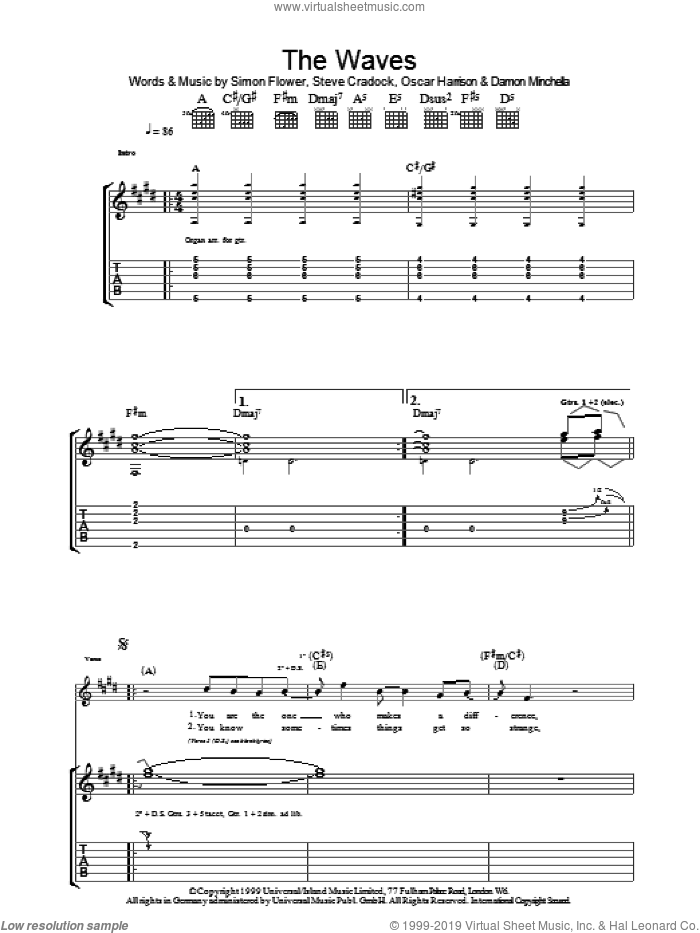The Waves sheet music for guitar (tablature) by Ocean Colour Scene, Damon Minchella, Oscar Harrison, Simon Fowler and Steve Cradock, intermediate skill level