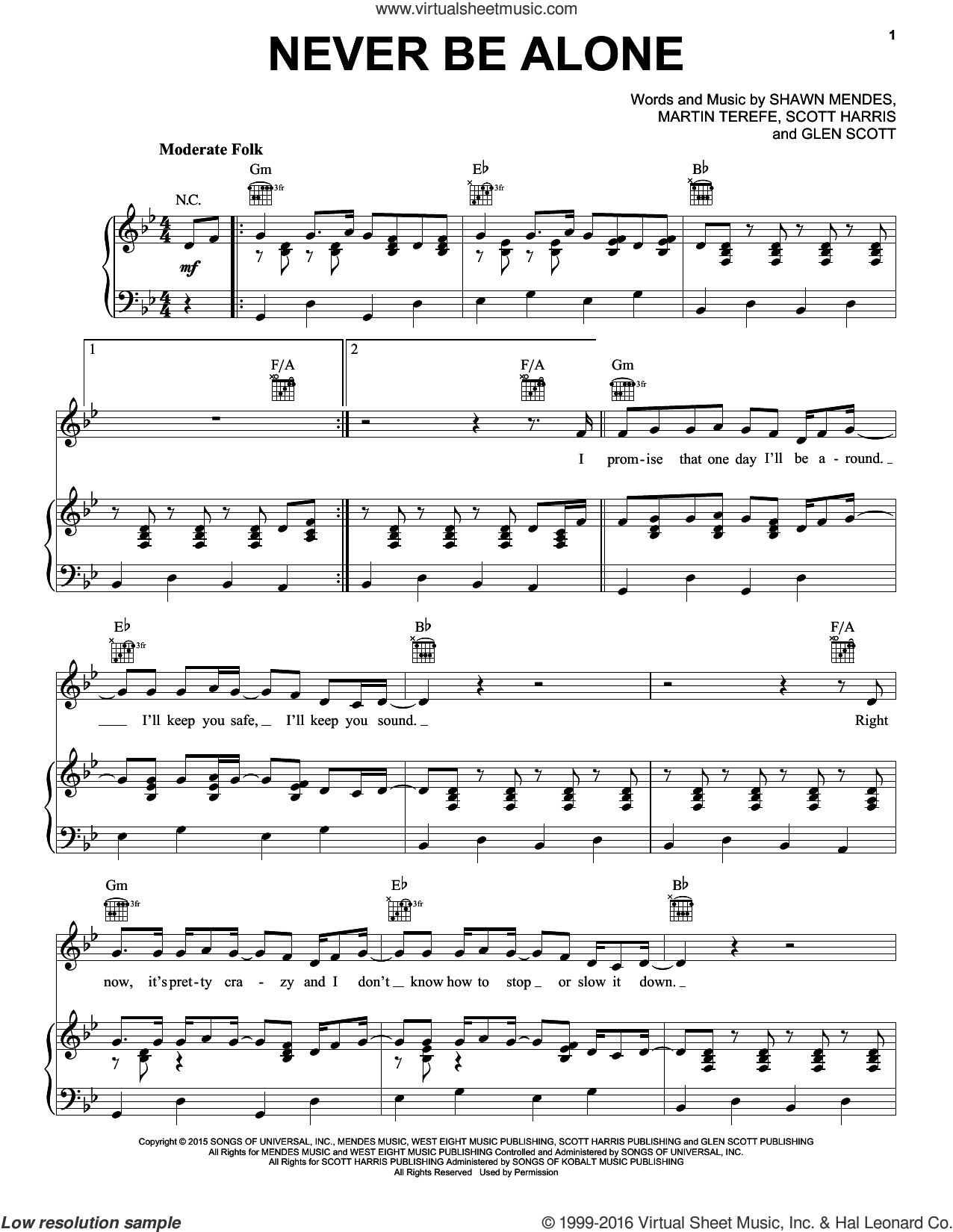 Never Be Alone sheet music for voice, piano or guitar by Shawn Mendes, Glen Scott, Martin Terefe and Scott Harris, intermediate skill level