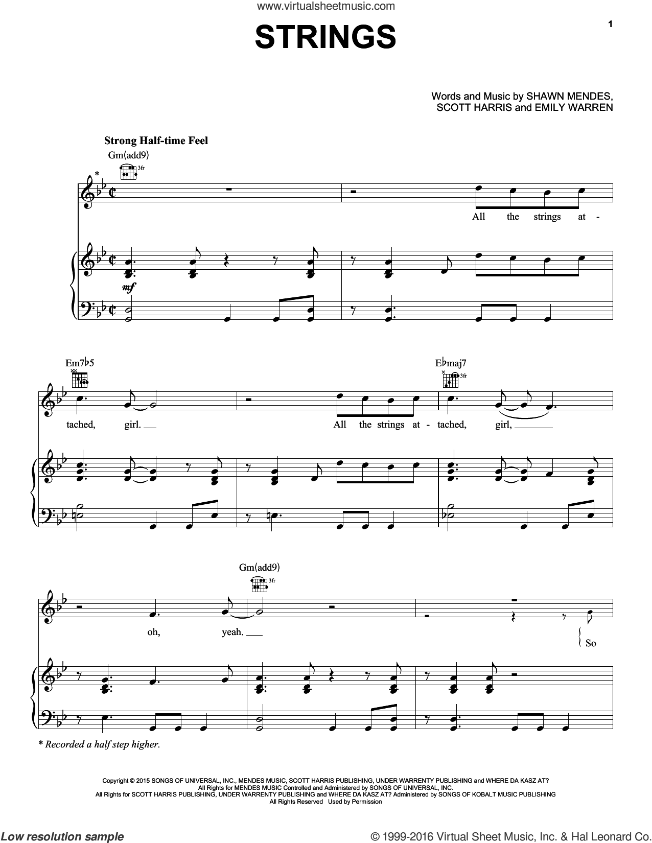 Strings sheet music for voice, piano or guitar by Shawn Mendes. Score Image Preview.