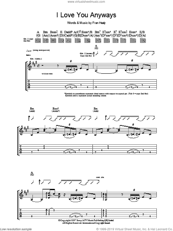 I Love You Anyways sheet music for guitar (tablature) by Fran Healy and Merle Travis. Score Image Preview.