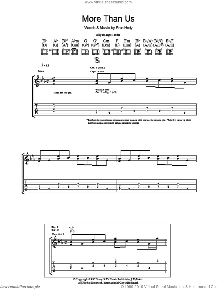 More Than Us sheet music for guitar (tablature) by Merle Travis and Fran Healy, intermediate skill level