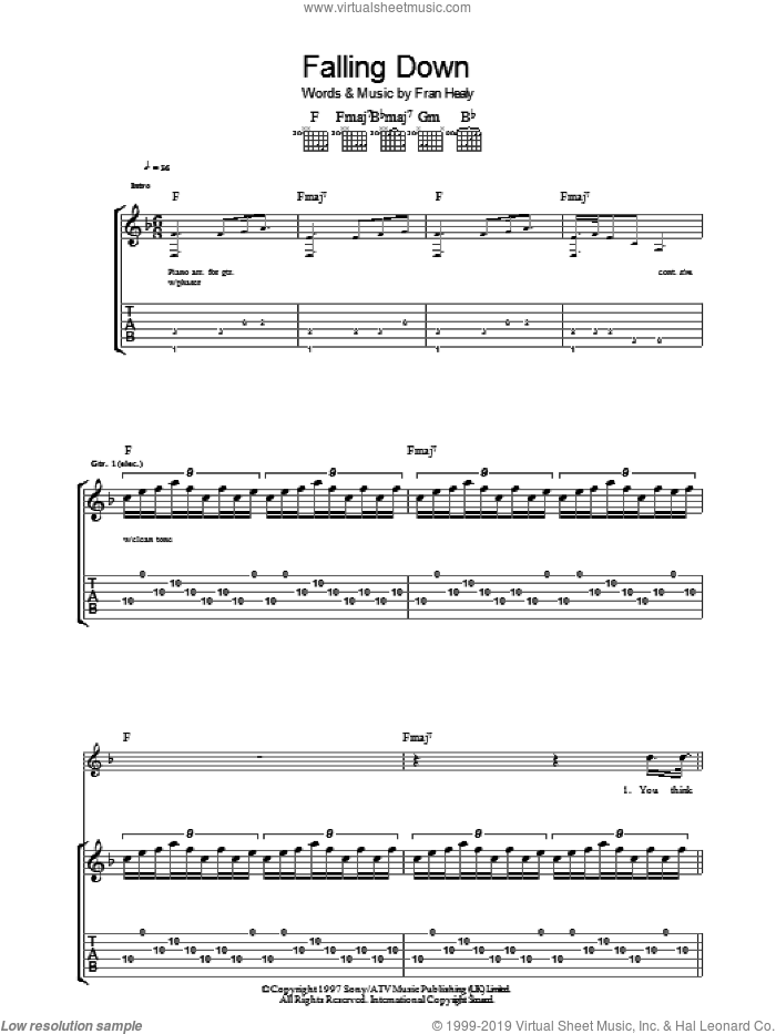 Falling Down sheet music for guitar (tablature) by Fran Healy and Merle Travis. Score Image Preview.