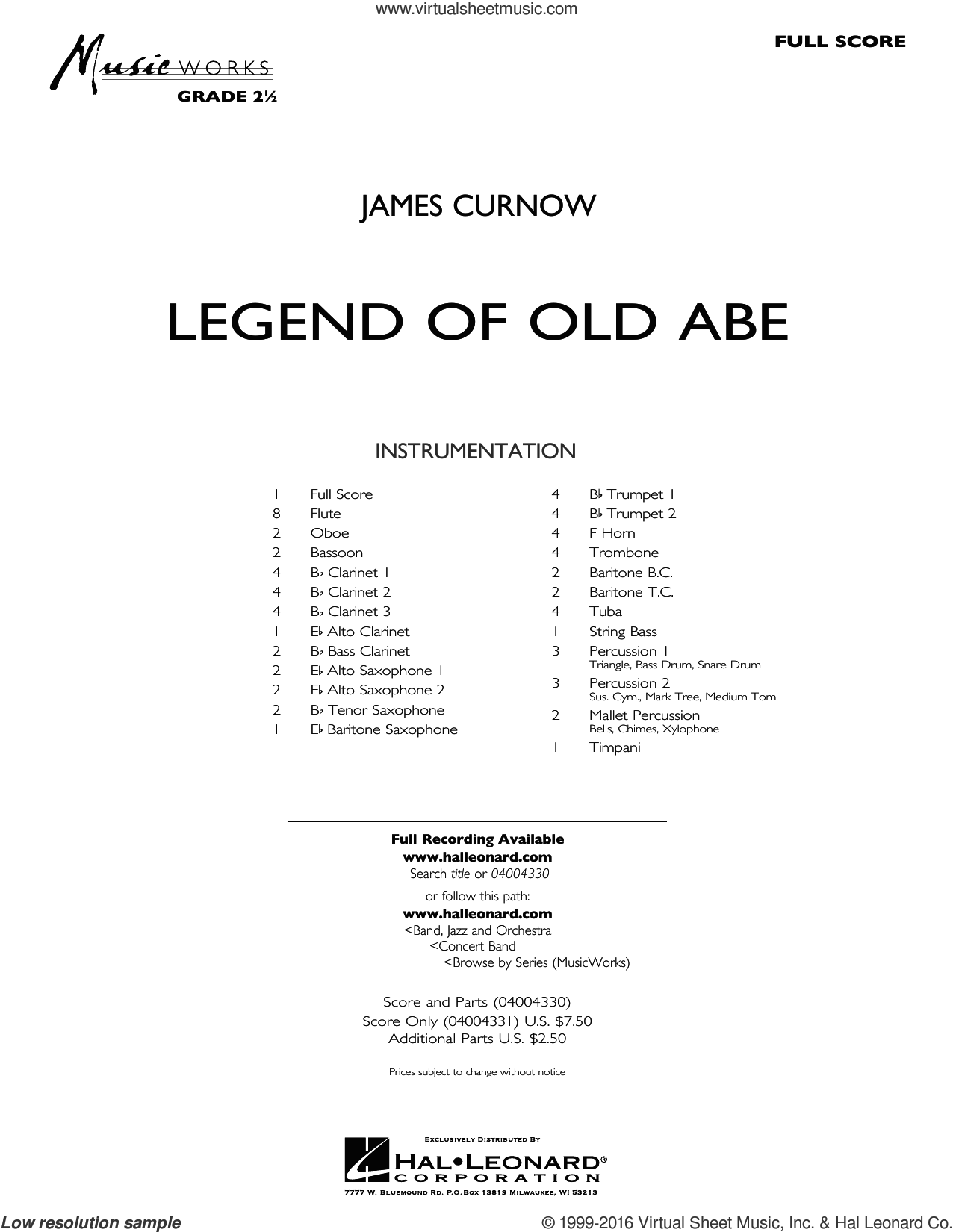 Legend of Old Abe sheet music for concert band (full score) by James Curnow