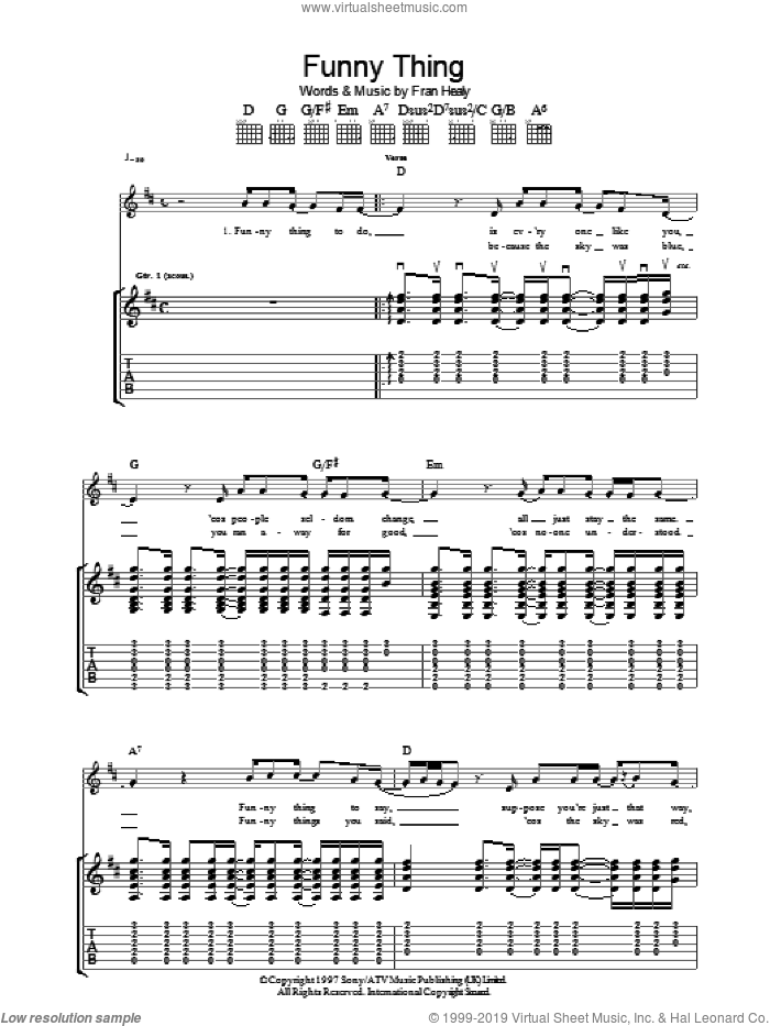 Funny Thing sheet music for guitar (tablature) by Merle Travis and Fran Healy, intermediate skill level