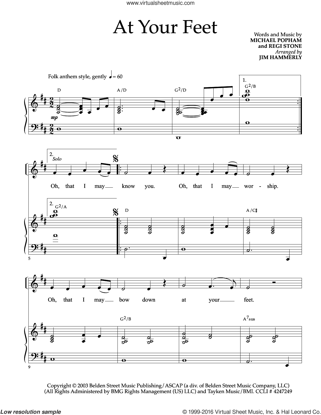 At Your Feet sheet music for voice and piano by Regi Stone and Michael Popham. Score Image Preview.