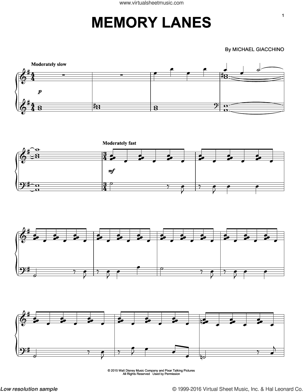 Memory Lanes sheet music for piano solo by Michael Giacchino. Score Image Preview.