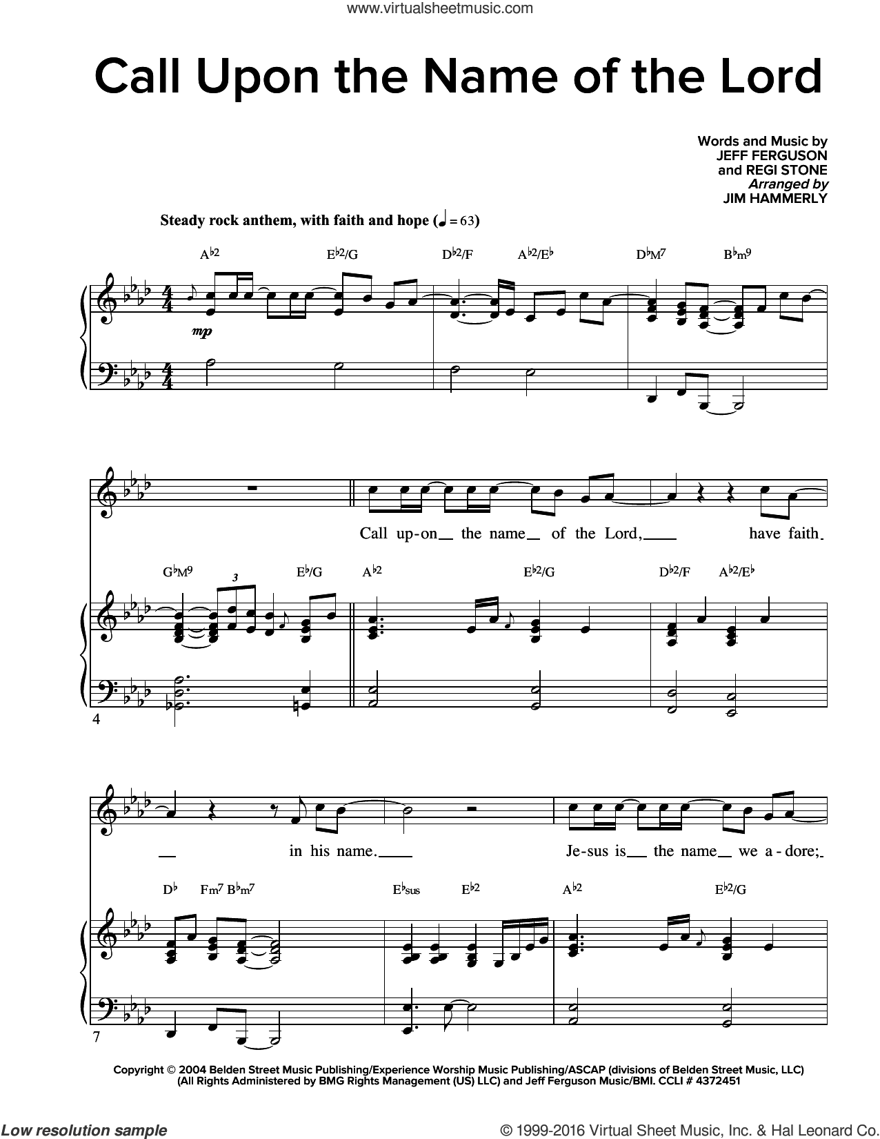 Call Upon The Name Of The Lord sheet music for voice and piano by Regi Stone and Jeff Ferguson, intermediate