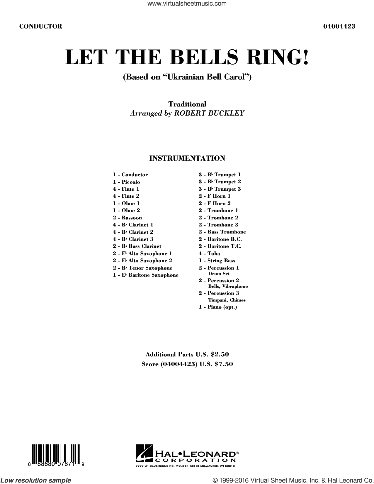 Let the Bells Ring! sheet music for concert band (full score) by Robert Buckley. Score Image Preview.