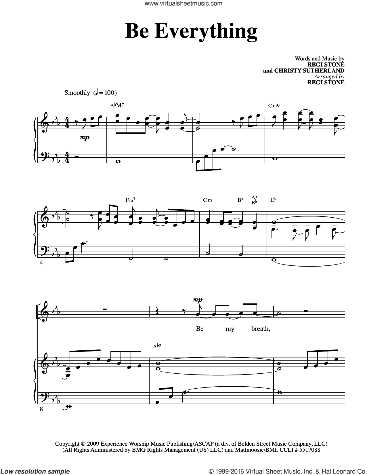 Be Everything sheet music for voice and piano by Christy Sutherland and Regi Stone. Score Image Preview.