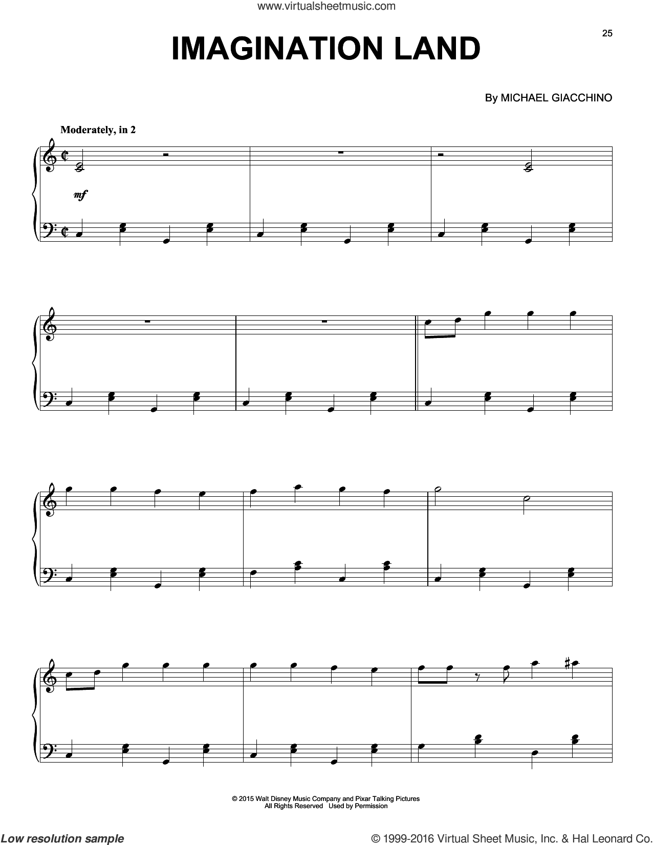 Imagination Land sheet music for piano solo by Michael Giacchino, intermediate skill level