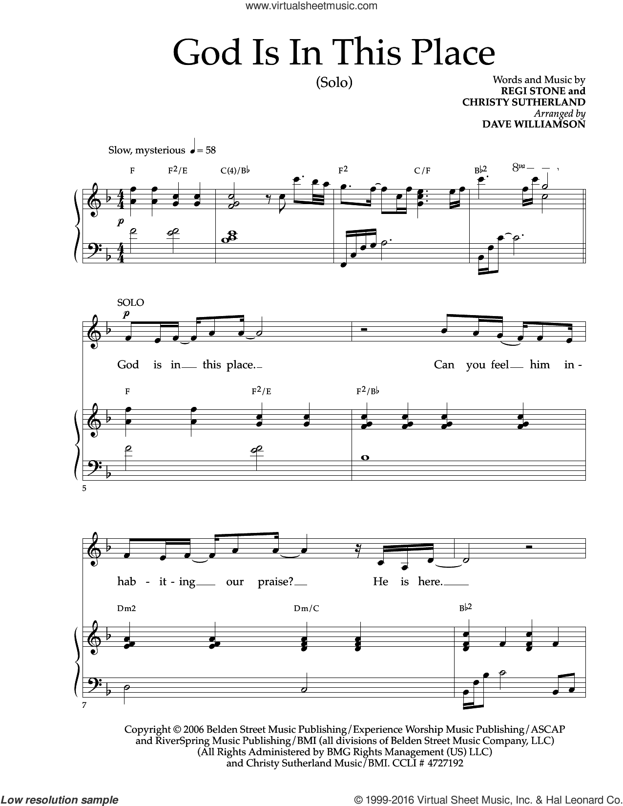 God Is In This Place sheet music for voice and piano by Christy Sutherland and Regi Stone. Score Image Preview.