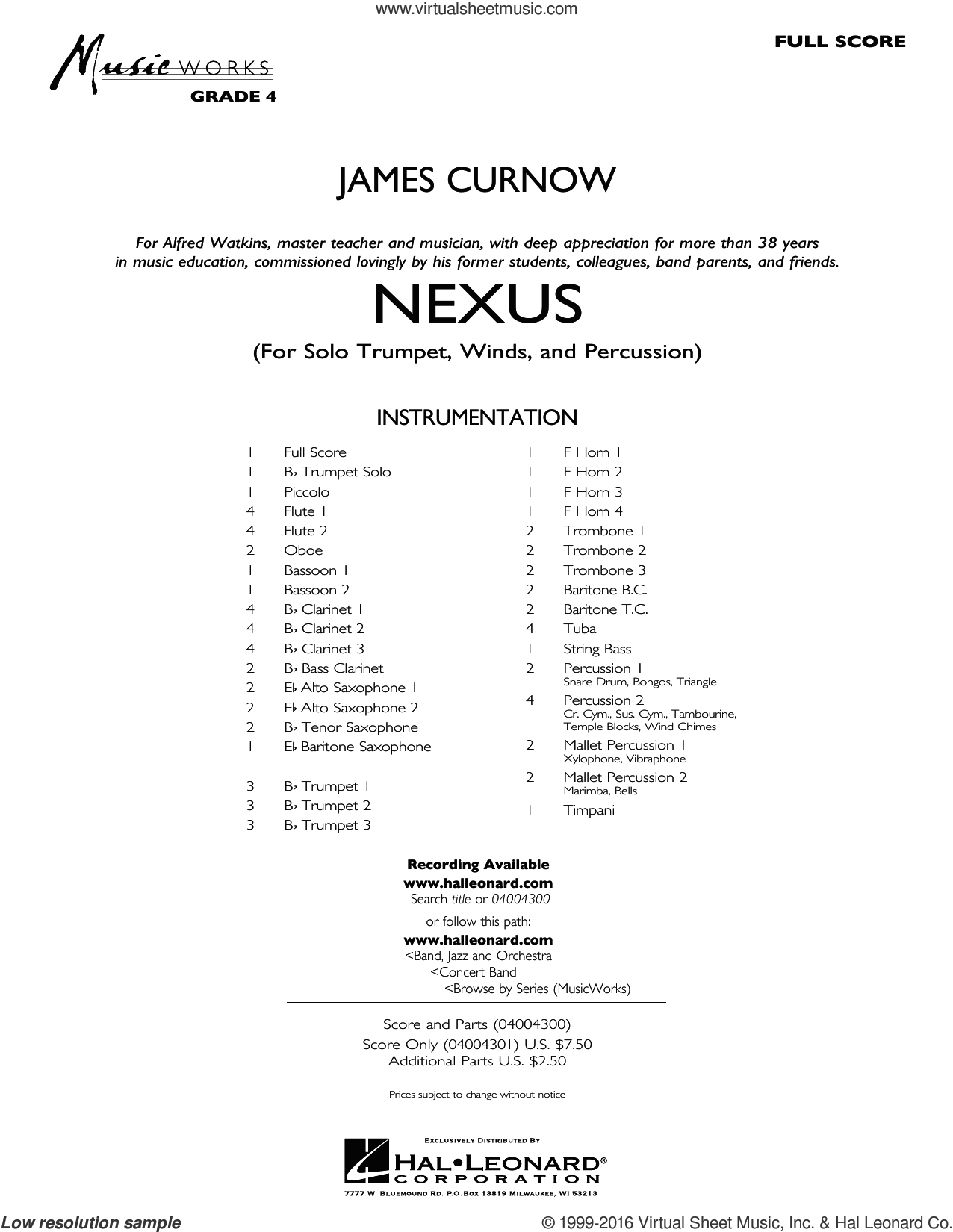 Nexus sheet music for concert band (full score) by James Curnow. Score Image Preview.