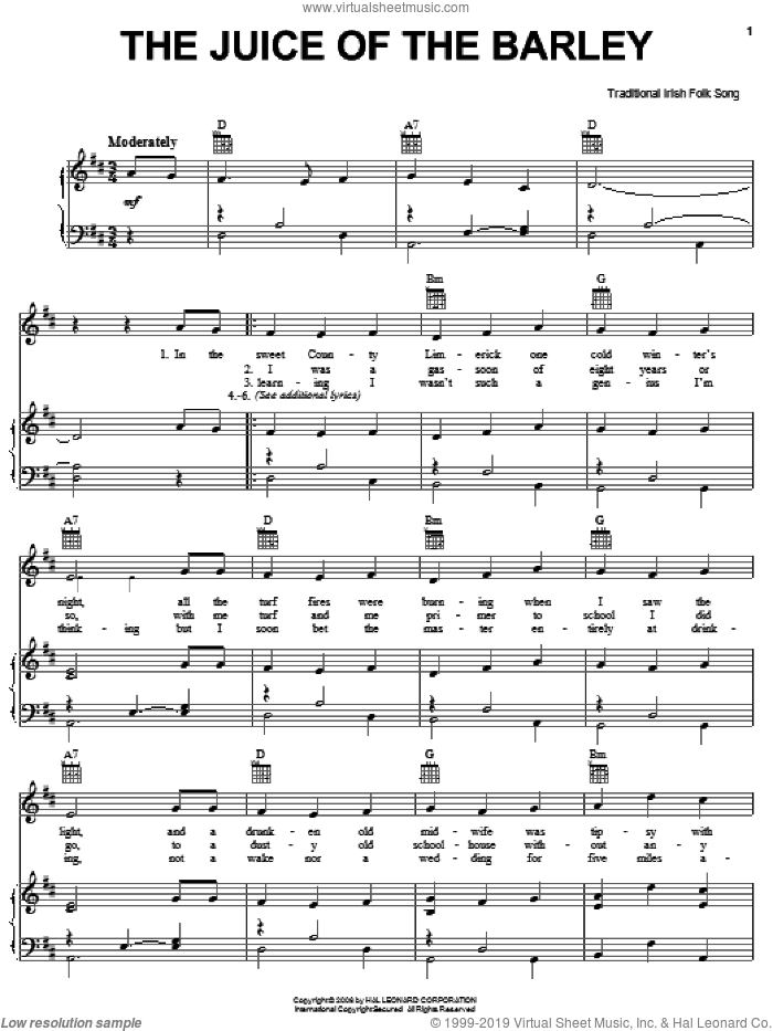 The Juice Of The Barley sheet music for voice, piano or guitar, intermediate skill level