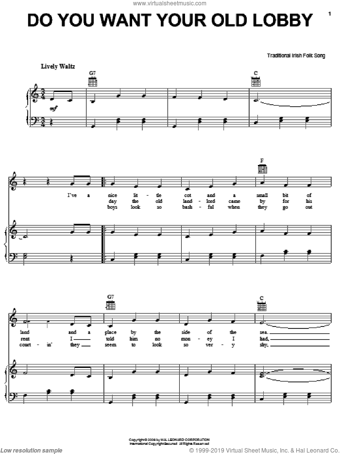 Do You Want Your Old Lobby sheet music for voice, piano or guitar. Score Image Preview.
