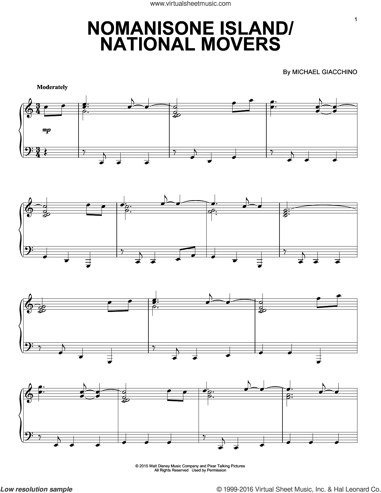 Nomanisone Island/National Movers sheet music for piano solo by Michael Giacchino. Score Image Preview.