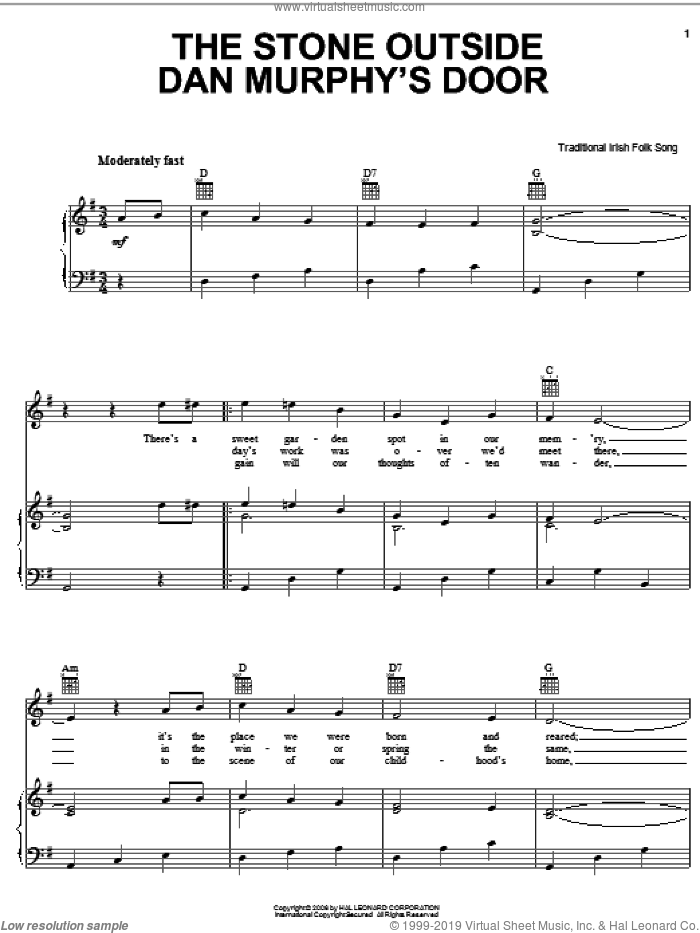 The Stone Outside Dan Murphy's Door sheet music for voice, piano or guitar, intermediate skill level