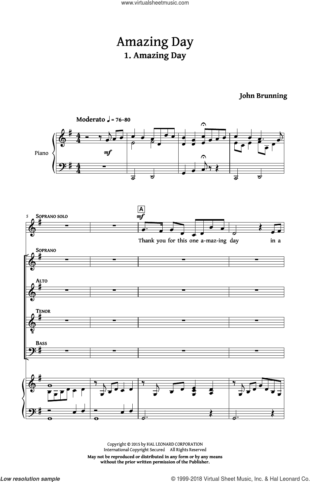 Amazing Day sheet music for choir and piano by John Brunning. Score Image Preview.