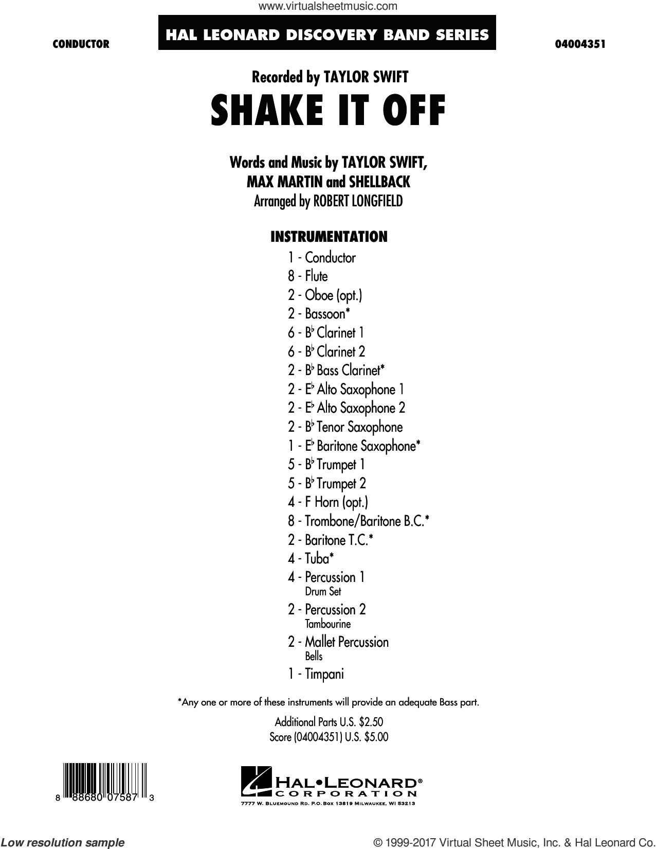 Shake It Off (COMPLETE) sheet music for concert band by Taylor Swift, Johan Schuster, Max Martin, Robert Longfield and Shellback, intermediate concert band. Score Image Preview.