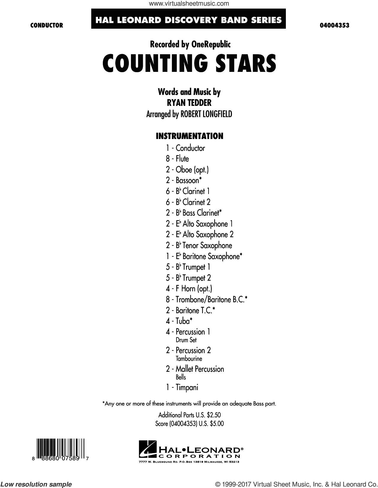 Counting Stars (COMPLETE) sheet music for concert band by Robert Longfield, OneRepublic and Ryan Tedder, intermediate. Score Image Preview.
