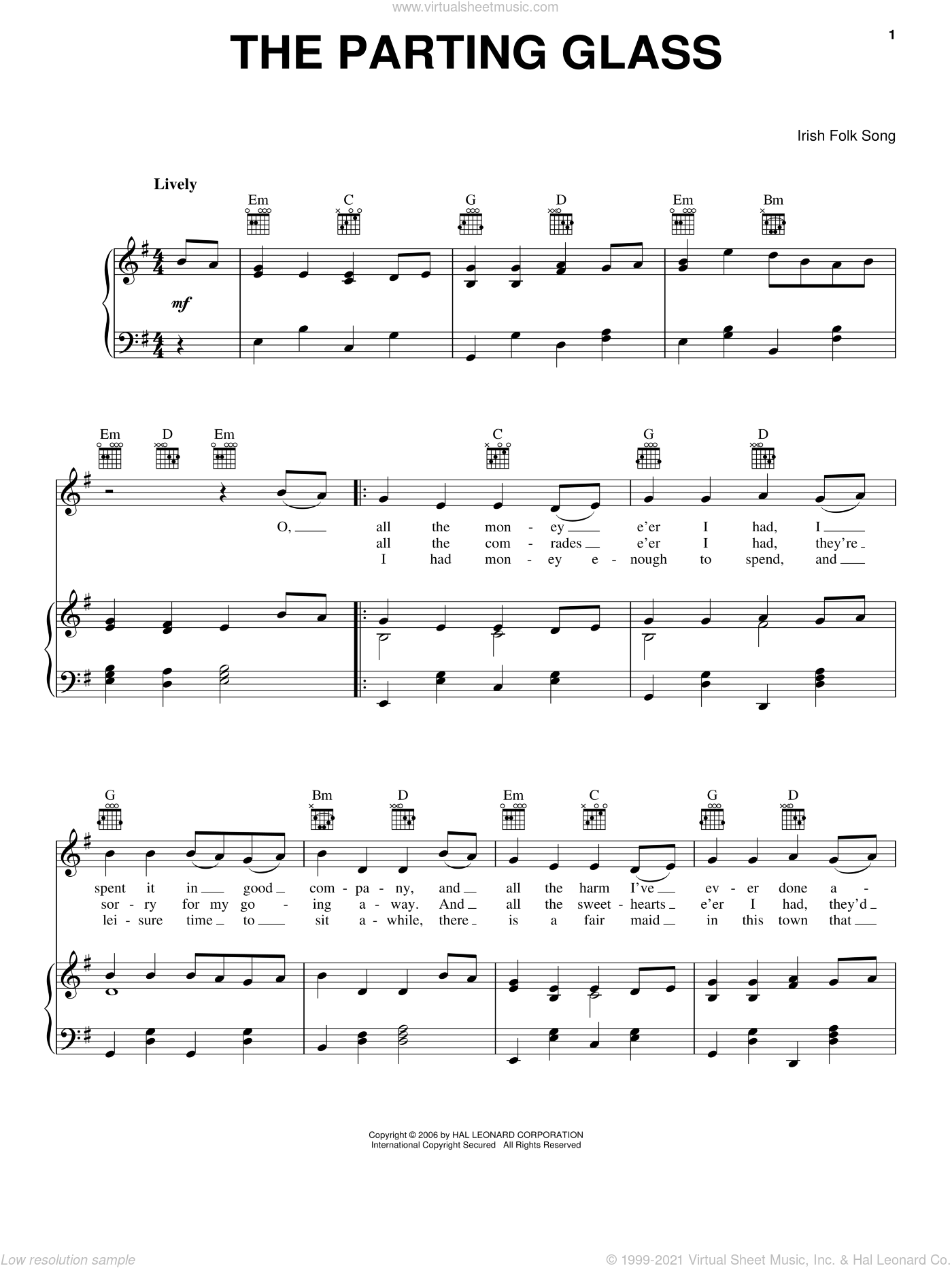 The Parting Glass sheet music for voice, piano or guitar, intermediate skill level
