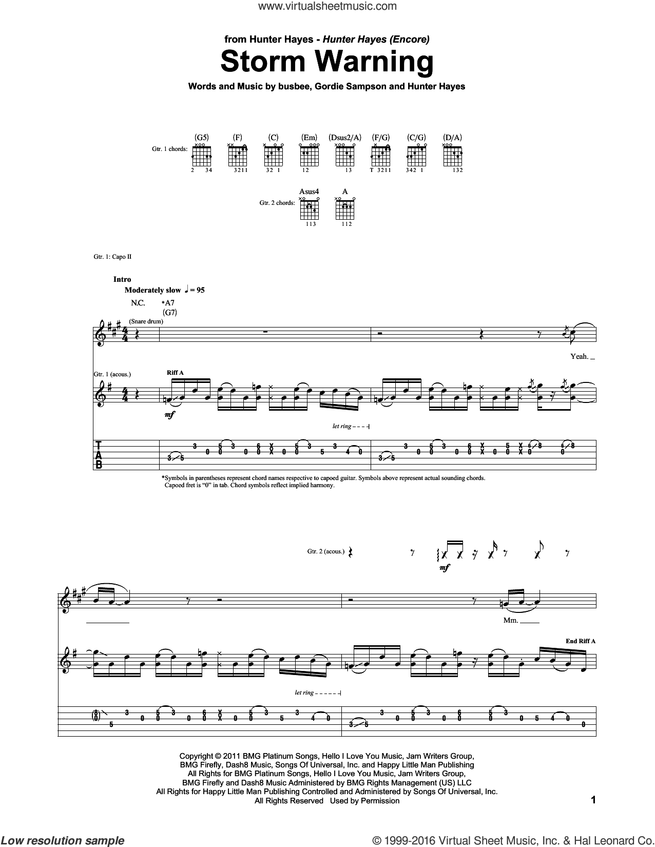 Storm Warning sheet music for guitar (tablature) by Hunter Hayes and Gordie Sampson. Score Image Preview.