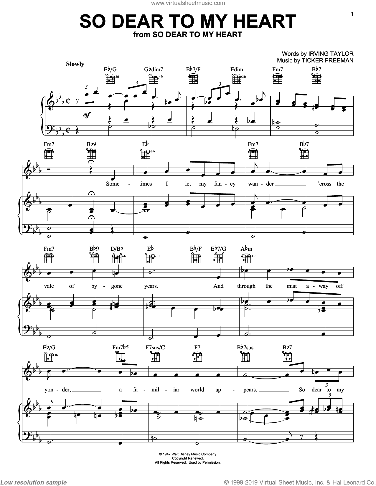So Dear To My Heart sheet music for voice, piano or guitar by Ticker Freeman and Peggy Lee. Score Image Preview.