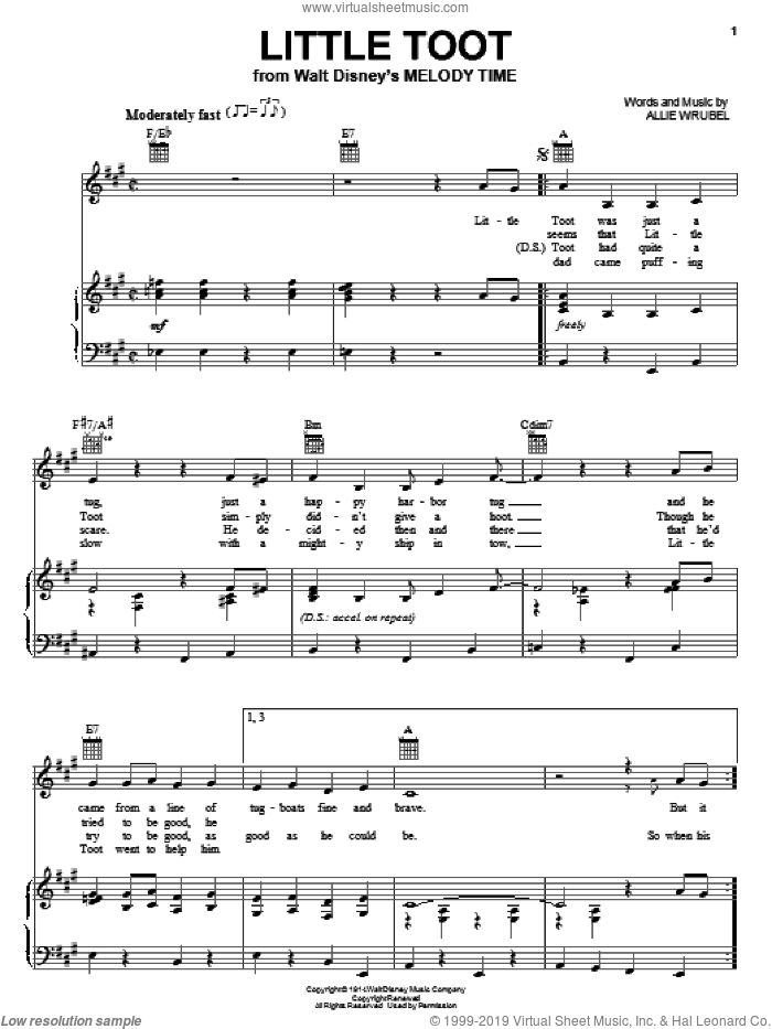 Little Toot sheet music for voice, piano or guitar by Allie Wrubel, intermediate skill level