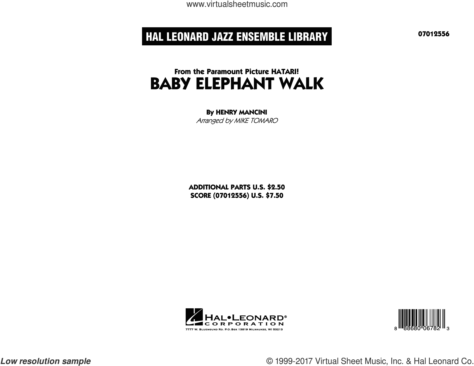 Baby Elephant Walk (COMPLETE) sheet music for jazz band by Henry Mancini, Hal David, Lawrence Welk and Mike Tomaro, intermediate jazz band. Score Image Preview.