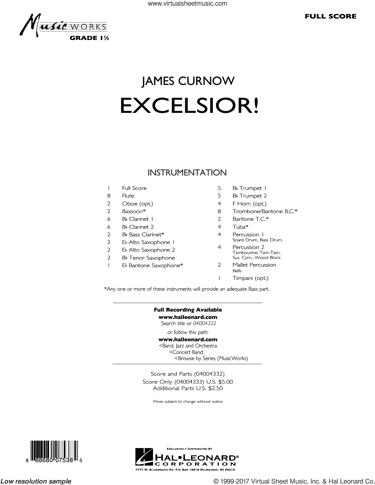 Excelsior! (COMPLETE) sheet music for concert band by James Curnow, intermediate. Score Image Preview.