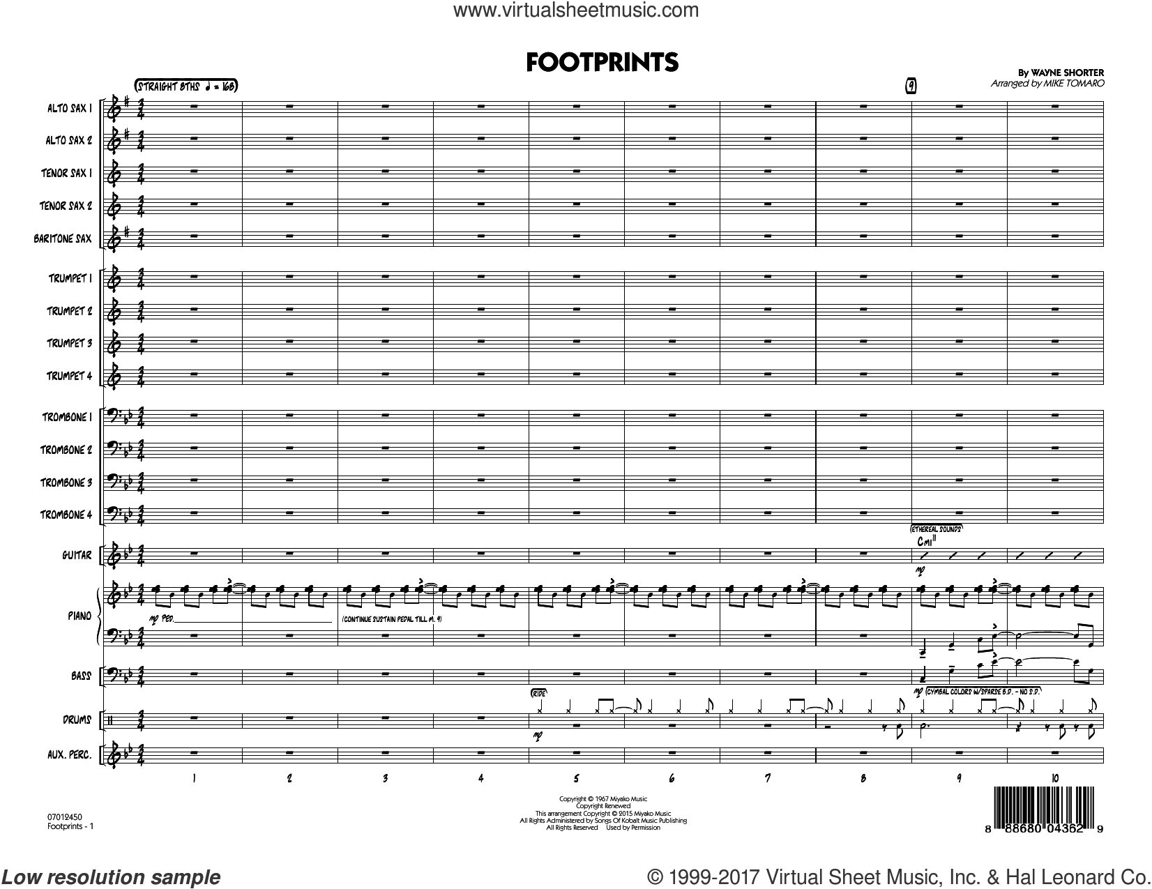 Footprints (COMPLETE) sheet music for jazz band by Wayne Shorter and Mike Tomaro, intermediate skill level