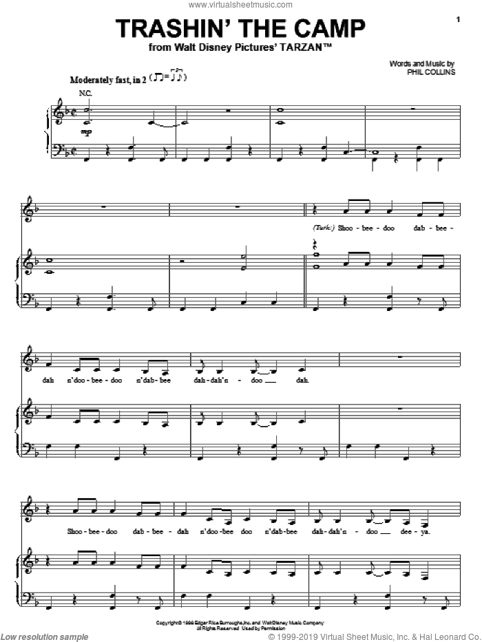 Trashin' The Camp sheet music for voice, piano or guitar by Phil Collins. Score Image Preview.