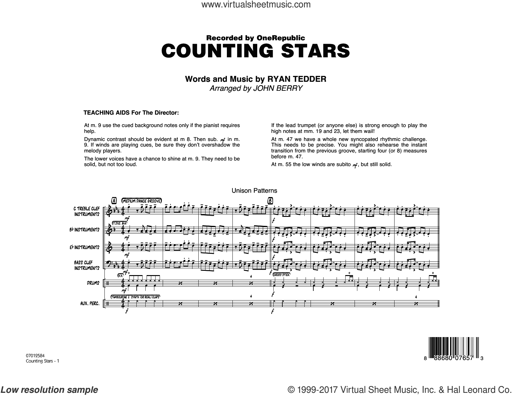 Counting Stars (COMPLETE) sheet music for jazz band by OneRepublic, John Berry and Ryan Tedder, intermediate jazz band. Score Image Preview.