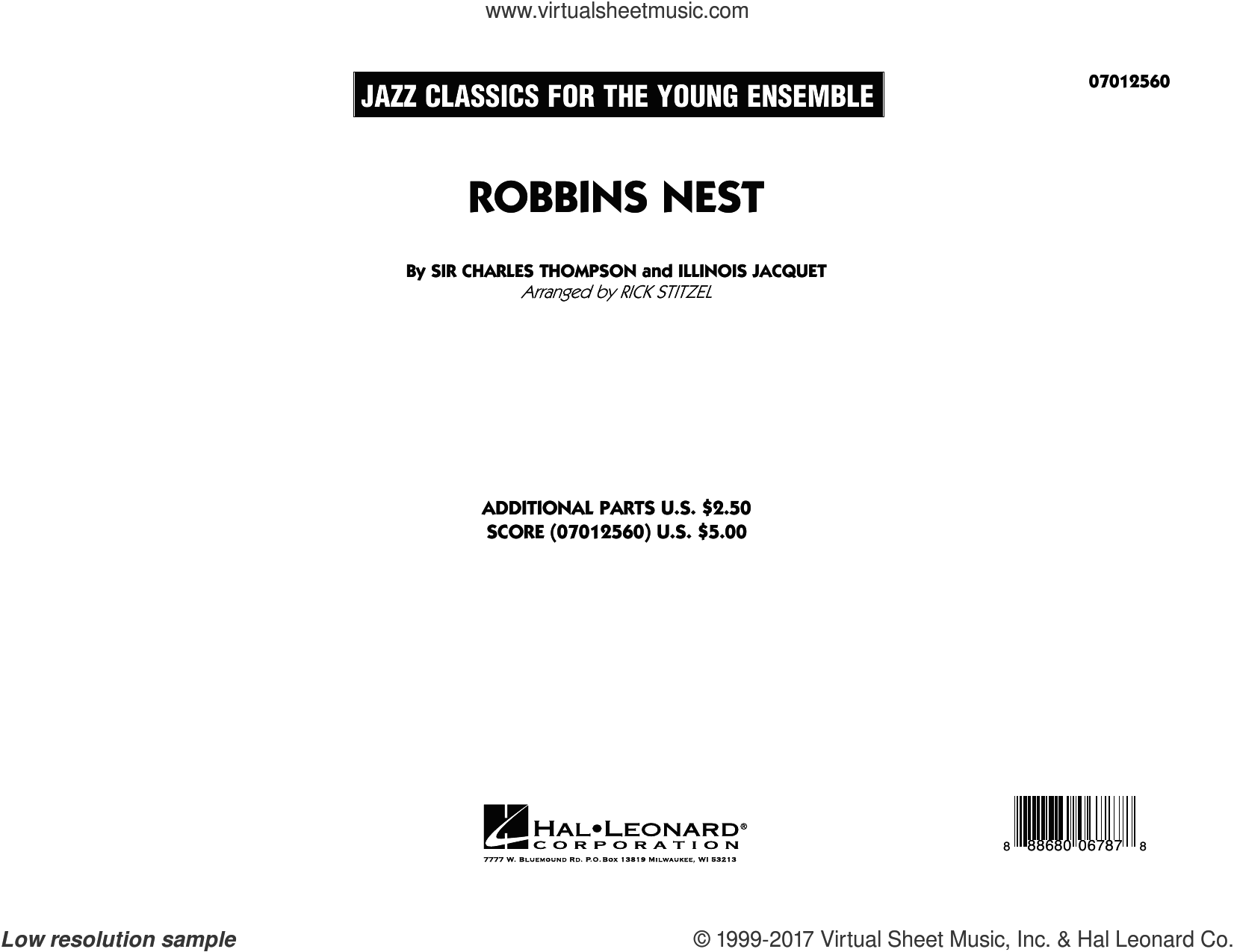 Robbins Nest (COMPLETE) sheet music for jazz band by Rick Stitzel, Illinois Jacquet and Sir Charles Thompson, intermediate jazz band. Score Image Preview.